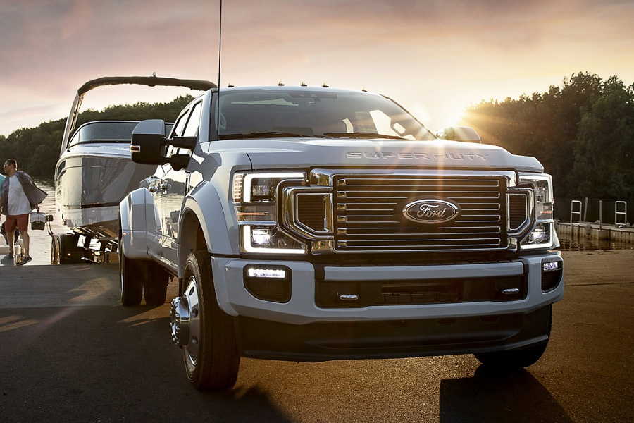 2020 Ford Super Duty towing boat