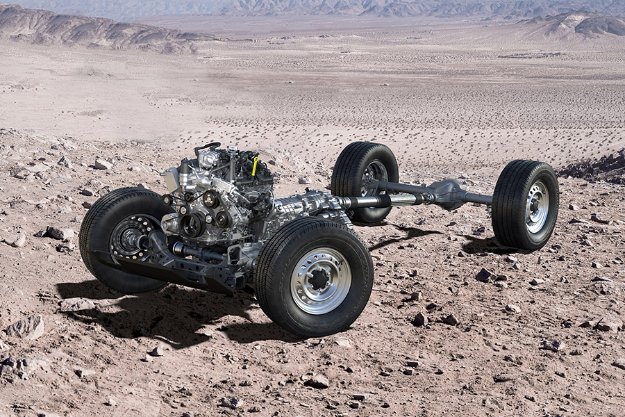 Bronco Powertrain Cutaway In Desert