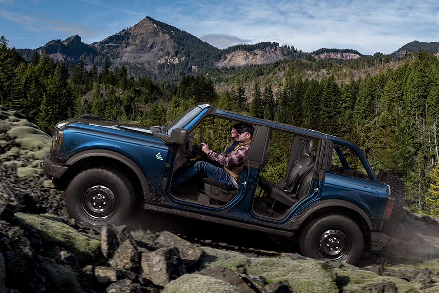 Bronco Climbing On A Mountain Trail