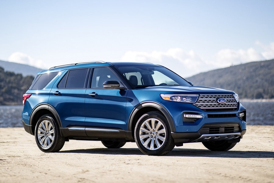 2021 Ford Explorer Hybrid R W D parked by the water