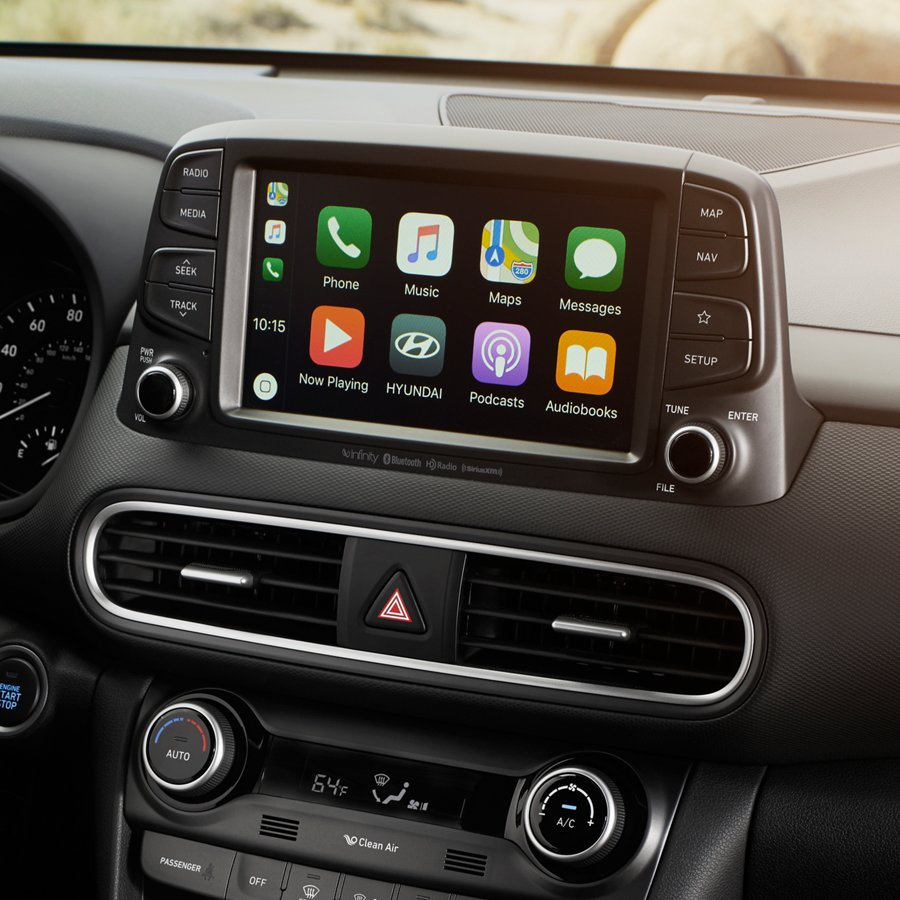 Center console touchscreen shown with apps