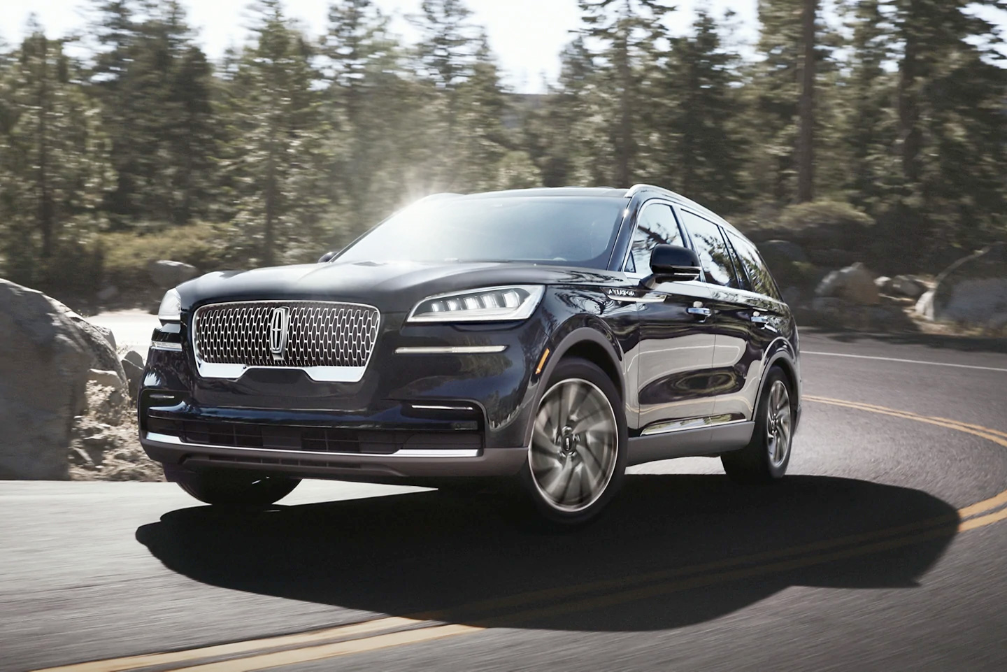 2021 Lincoln Aviator driving on a mountainous road