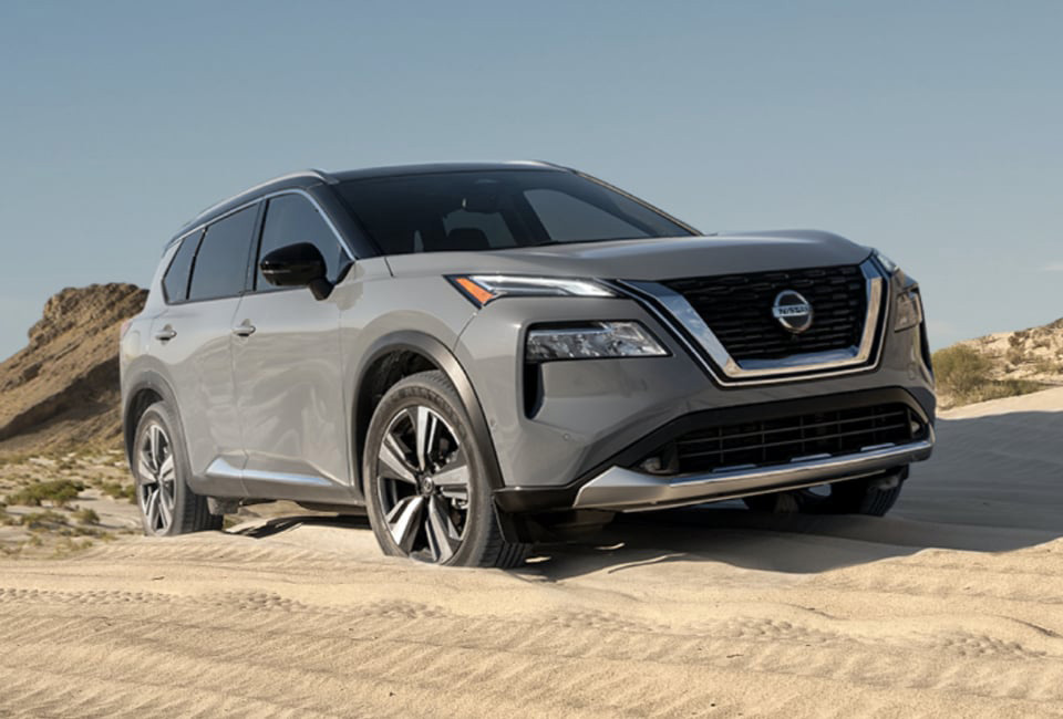 2021 Nissan Rogue SUV driving through the desert