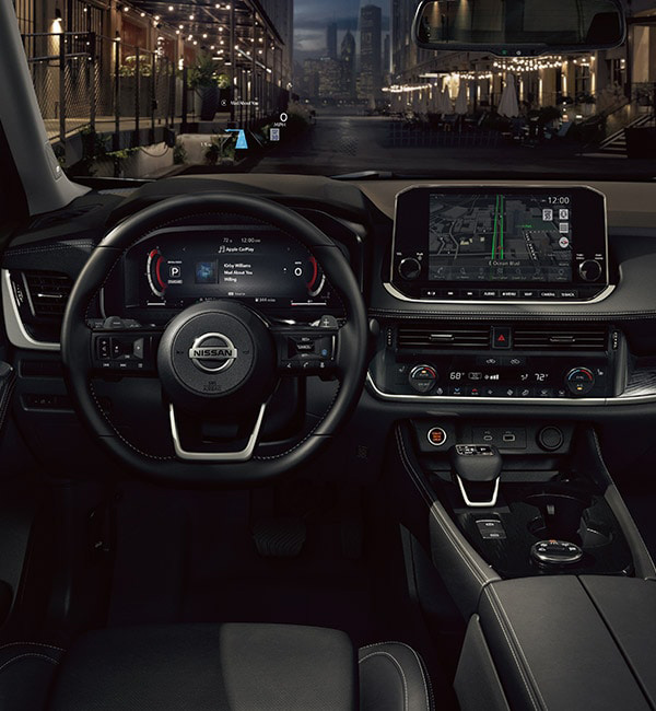 2021 Nissan Rogue interior driver's perspective showing high tech displays