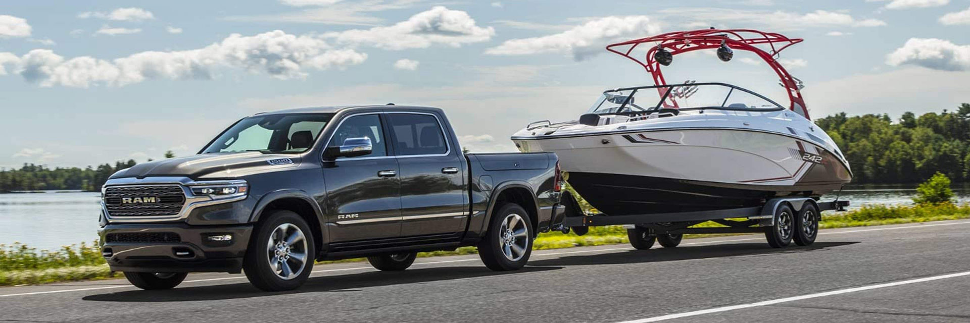 RAM 1500 On Roadway Towing Boat