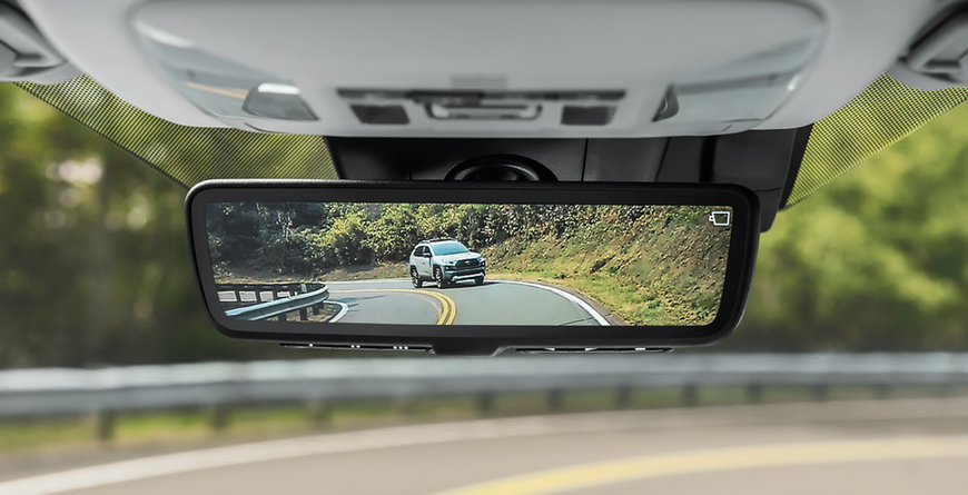 2020 Toyota Rav4 Hybrid Looking At Digital Rearview Mirror