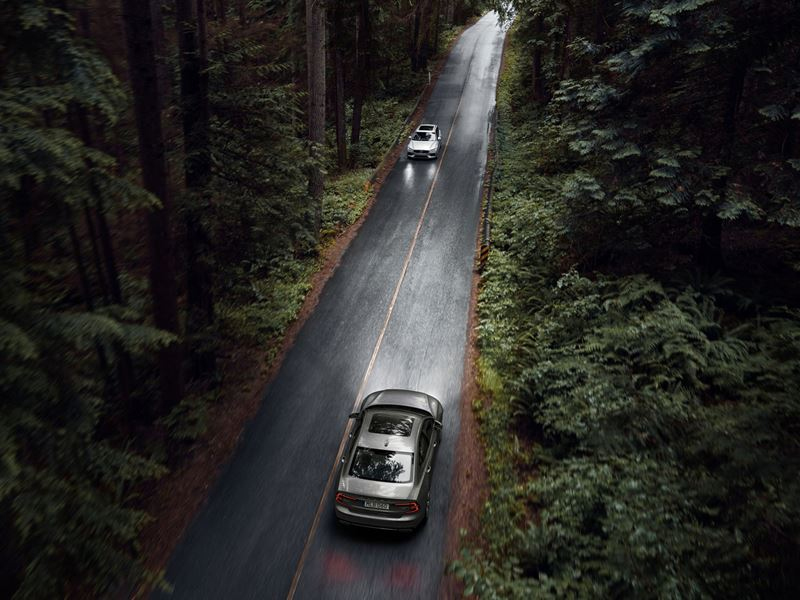 Two 2020 Volvo S60 Driving on forest backroads
