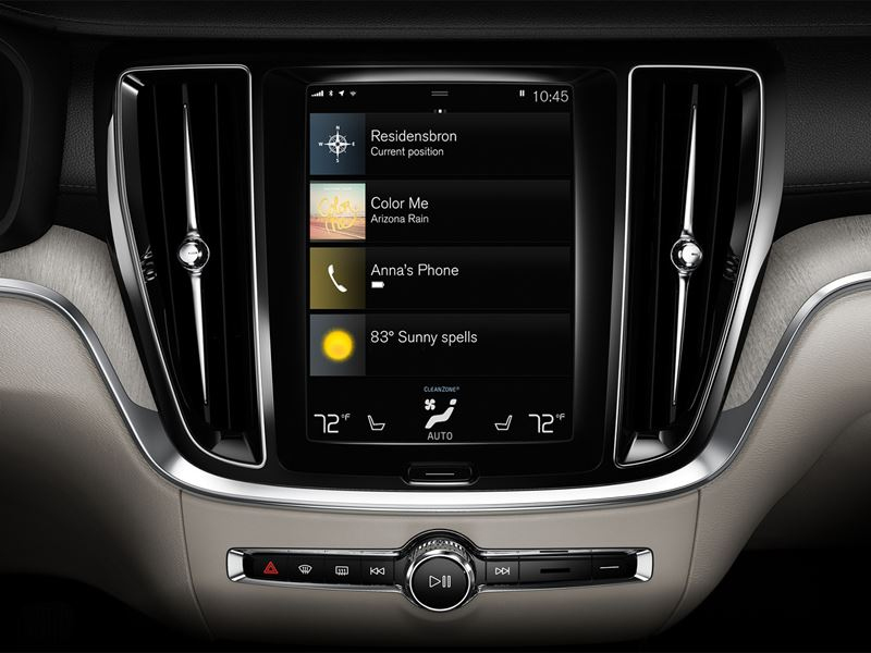 Interior Shot of the 2020 Volvo S60 9 Inch Sensus Touchscreen Display