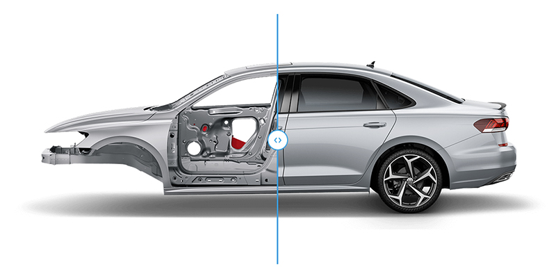 Split Image of the 2020 VW Passat Safety Cage and Vehicle Exterior